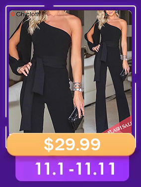 A| Chicloth Stylish One Shoulder Long Sleeves Jumpsuits(In Stock)