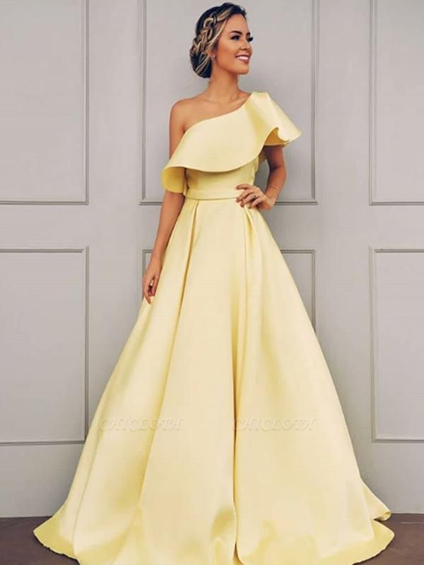 Chicloth A-Line Sleeveless One-Shoulder Sweep/Brush Train With Ruffles Satin Dresses