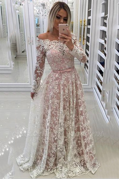 Chicloth A-line Off-shoulder Long Sleeves Floor-length Appliques Sash Prom Dresses