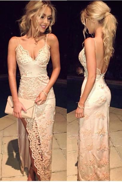 Chicloth Champagne Lace Spaghettis-Straps Side Slit Open-Back Sheath Prom Dresses