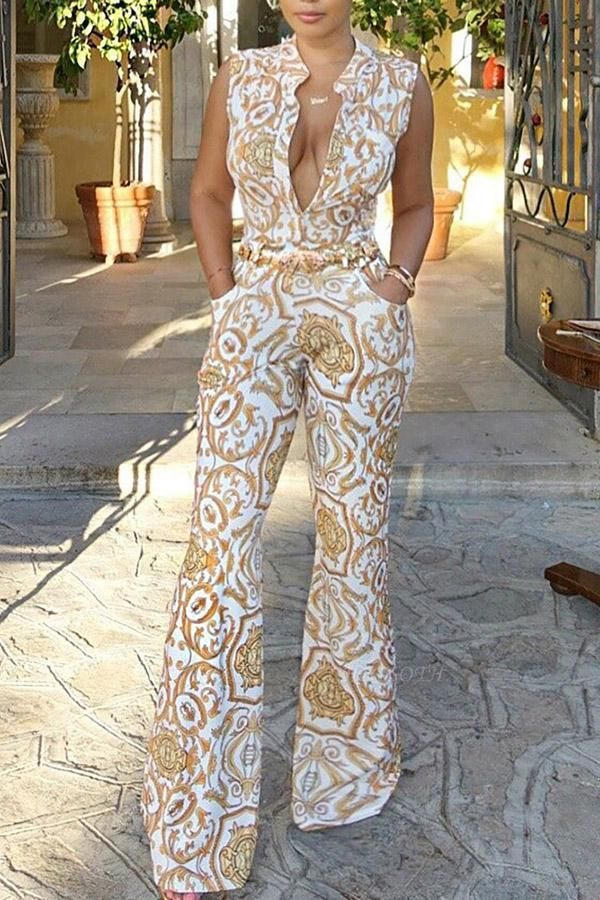 A| Chicloth Sexy Retro Floral Print Sleeveless Jumpsuits