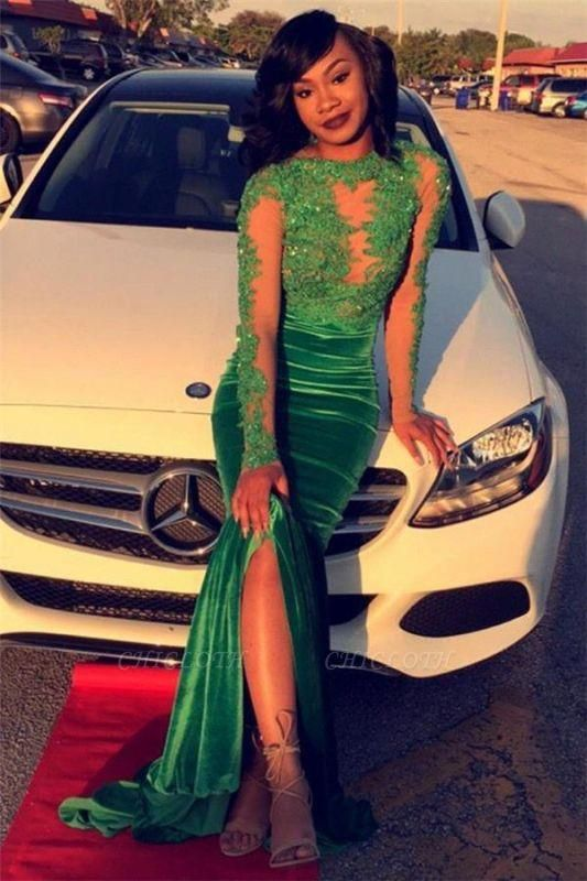 Chicloth Gorgeous Green Long-Sleeve Lace Appliques Split Mermaid Prom Dress
