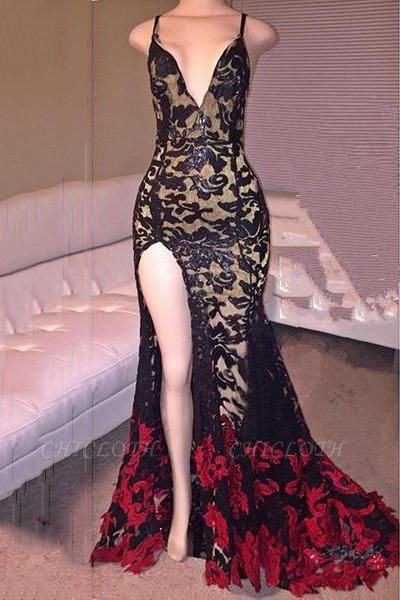 Chicloth Black Red Lace Spaghettis-Straps Side-Slit Mermaid Prom Dresses