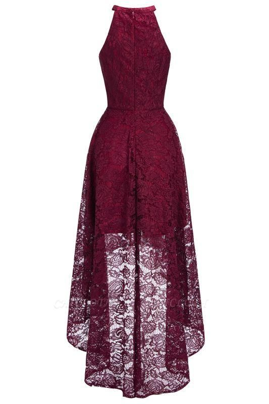 Chicloth Halter Sleeveless Sheath Asymmetrical Burgundy Lace Dresses