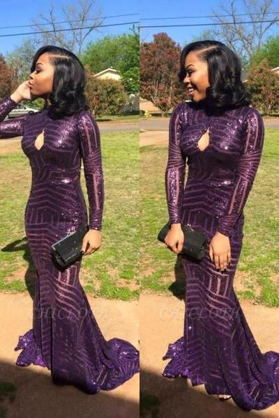 Chicloth Sexy High-Neck Sequins Prom Dress Mermaid Keyhole Long-Sleeve