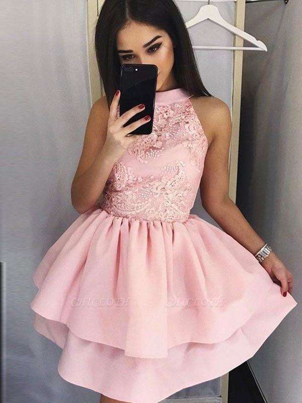 Chicloth A-Line Lace Jewel Sleeveless Satin Short/Mini Dresses