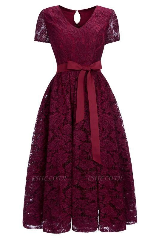 Chicloth Burgundy Short Sleeves Flower Lace V-neck Dresses with Sash