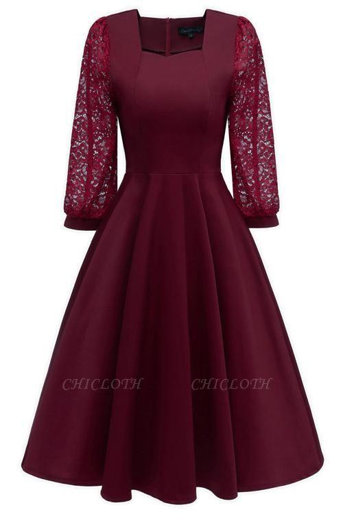 A| Chicloth Burgundy A-line Half Sleeve Lace Dress