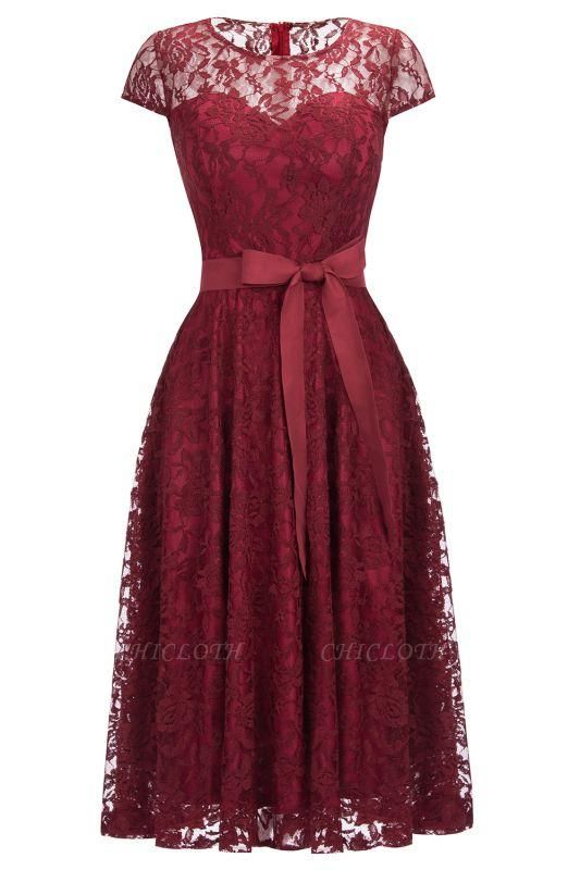 Chicloth Burgundy Lace Short Sleeves A-line Dresses with Bow