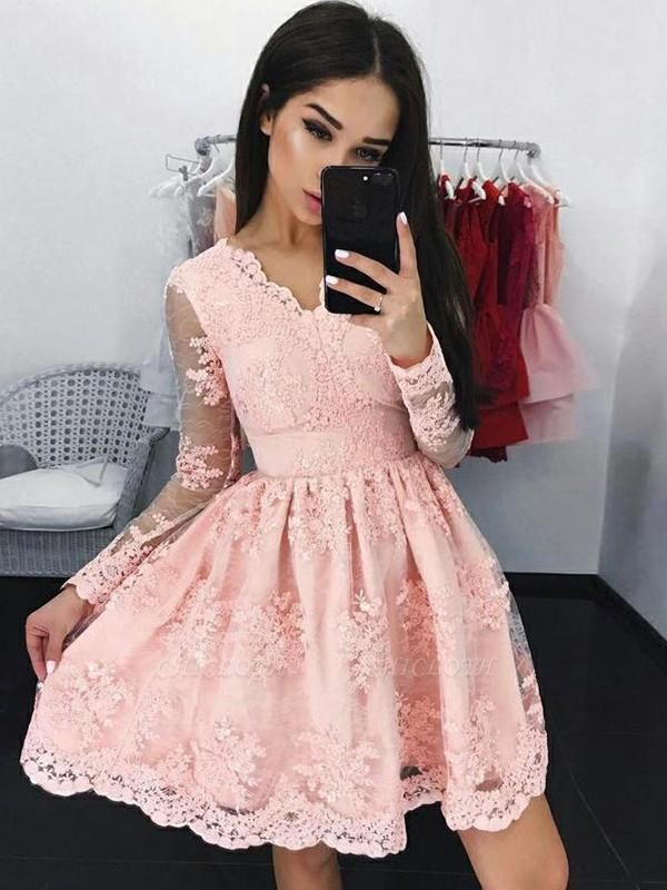 Chicloth A-Line Lace Long Sleeves With Applique V-neck Short/Mini Dresses