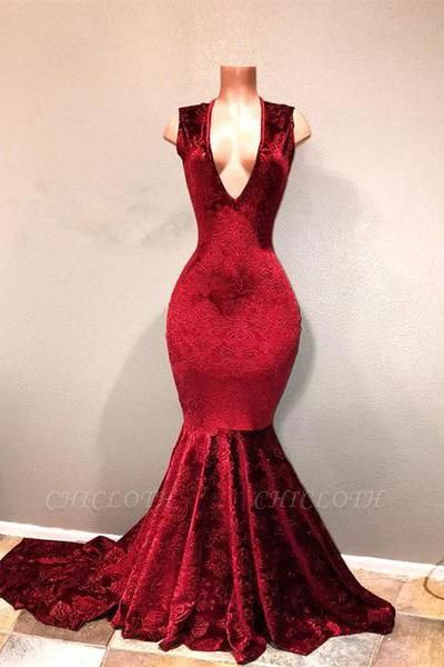 Chicloth Sexy Burgundy Mermaid Prom Dresses | V-Neck Long Print Evening Gowns