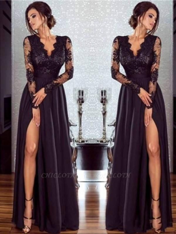 Chicloth A-Line Long Sleeves V-Neck Floor-Length Lace Chiffon With Applique Dresses