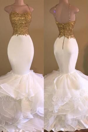 A  Chicloth THALIA   Mermaid Spaghetti Sweetheart Long Tulle Prom Dresses with Crystals