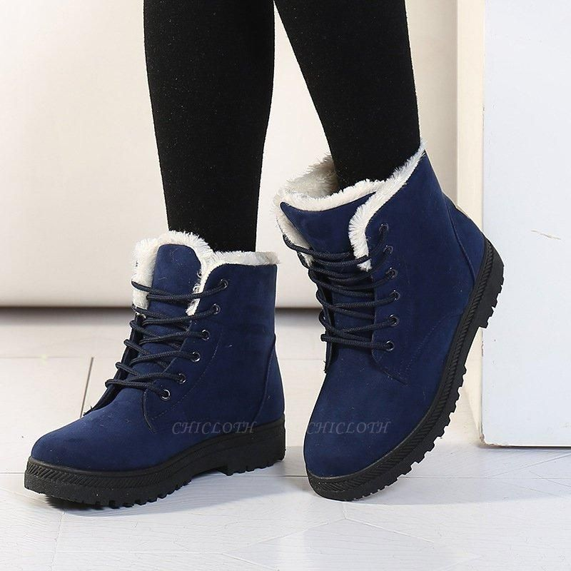 Daily Lace-up Round Toe Boots