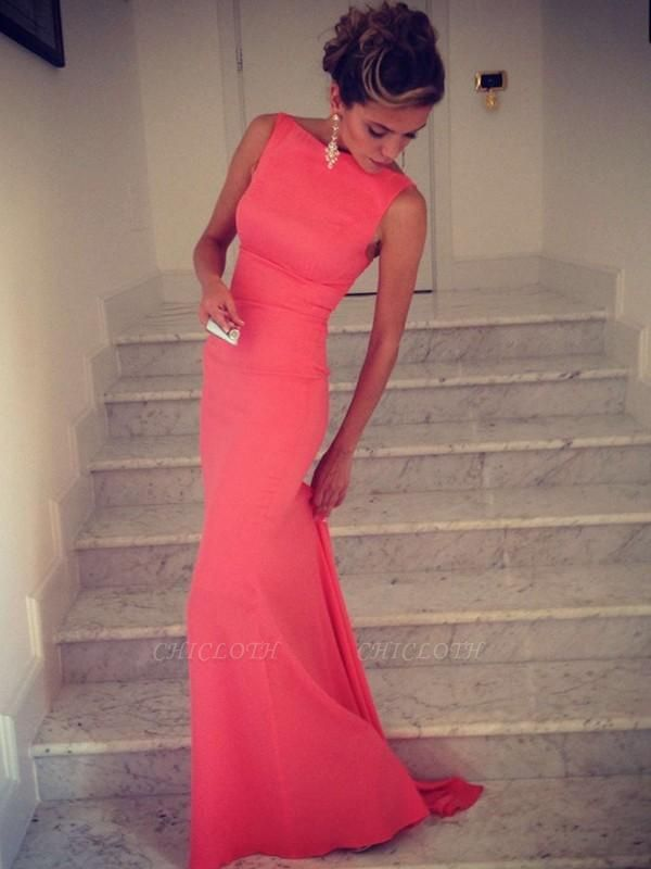 Chicloth Mermaid Spandex High Neck Sleeveless Floor-Length With Ruffles Dresses