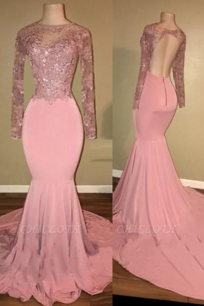 Chicloth Pink Long-Sleeves Backless Beaded Mermaid Shiny Prom Dresses