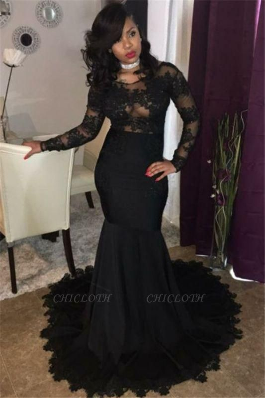 Chicloth Sexy Black Lace Tulle Prom Dresses | Mermaid Long Sleeve Cheap Evening Gown 2019 FB0277