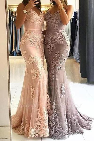 Chicloth Red Lace Appliques Prom Dress | 2019 Mermaid Formal Dress