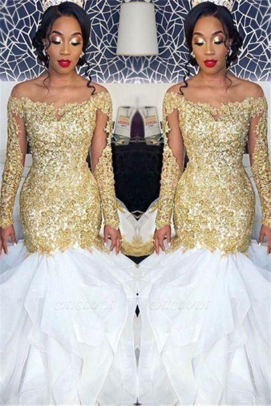 Chicloth Long Sleeve Gold Lace Appliques 2019 Prom Dress | Sexy Ruffles Mermaid Evening Gown Cheap FB0328