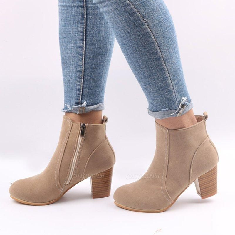 Suede Chunky Heel Zipper Daily Round Boots
