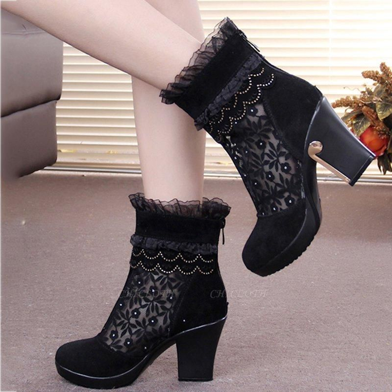 Lace Black Beading Suede Platform Winter Boots