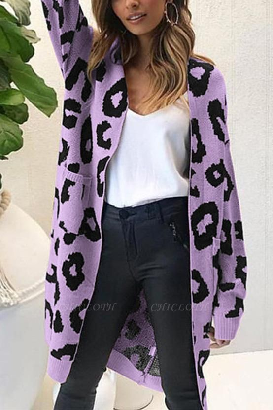 A| Chicloth New Leopard Print Loose Cardigan Sweater