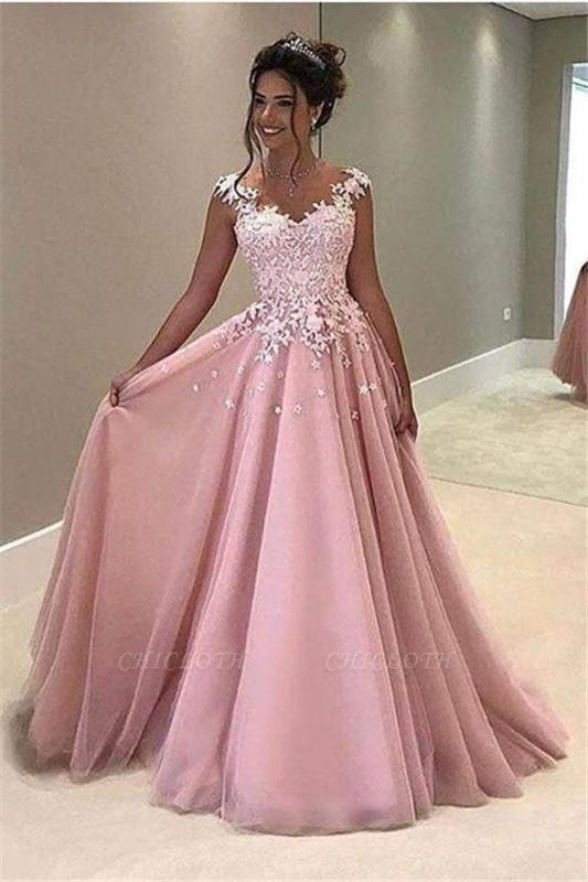 Chicloth Gorgeous Pink Lace Appliques V-Neck A-Line Cap-Sleeves Prom Dress
