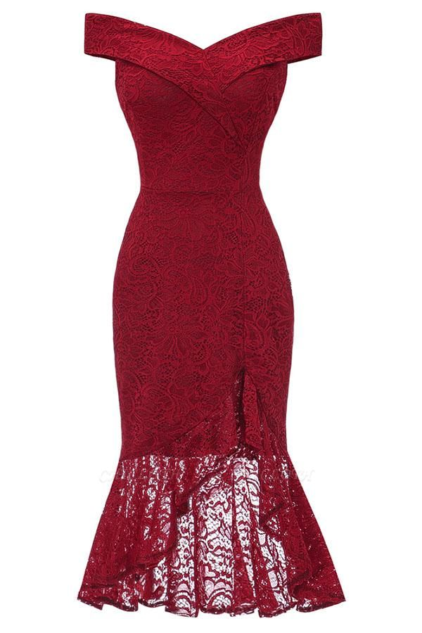 Lace Dresses Femme Off the Shoulder V-Neck Women Red Dress