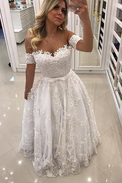 Modern White Beads Lace A-line Evening Dress | Off-the-shoulder Evening Gown