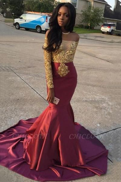 Chicloth Gold Lace Appliques Off The Shoulder Evening Gowns Long Sleeve Mermaid 2019 Prom Dress CE0071