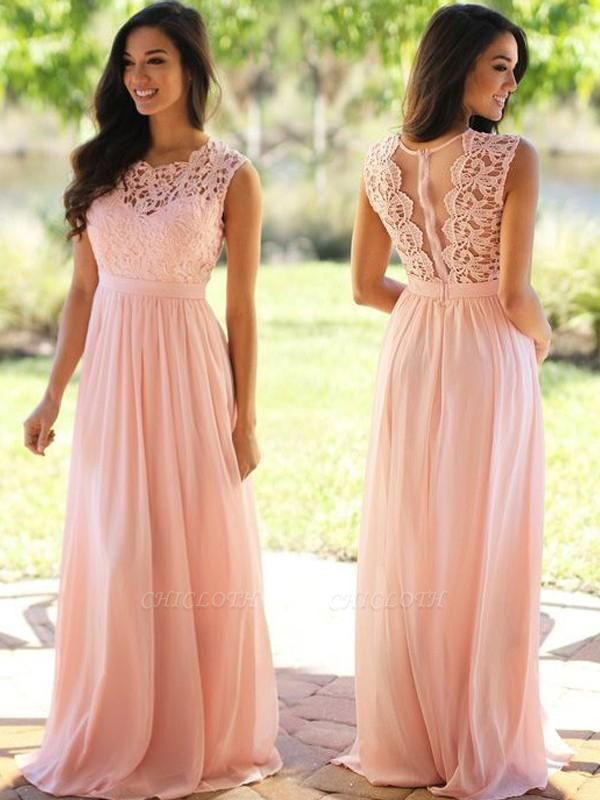 Chicloth A-Line Chiffon Scoop Sleeveless Floor-Length With Applique Dresses