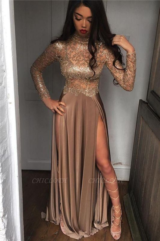 Chicloth High Neck Champagne Gold Sexy Evening Dress Splits Long Sleeve Illusion Prom Dress 2019 FB0061