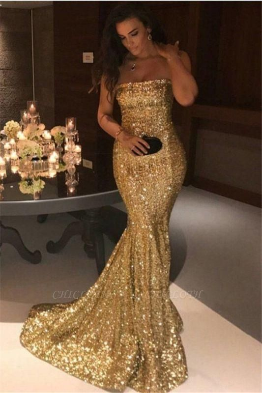 Chicloth Sparkle Gold Sequins Mermaid Evening Gowns Cheap Sexy Strapless Prom Dresses 2019 FB0164