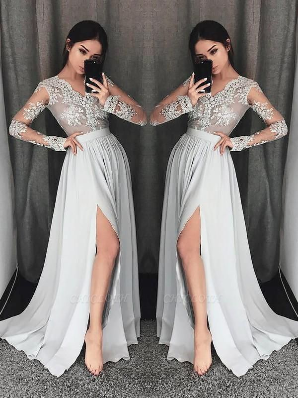Chicloth A-Line V-Neck Long Sleeves Sweep/Brush Train With Lace Chiffon Prom Dresses
