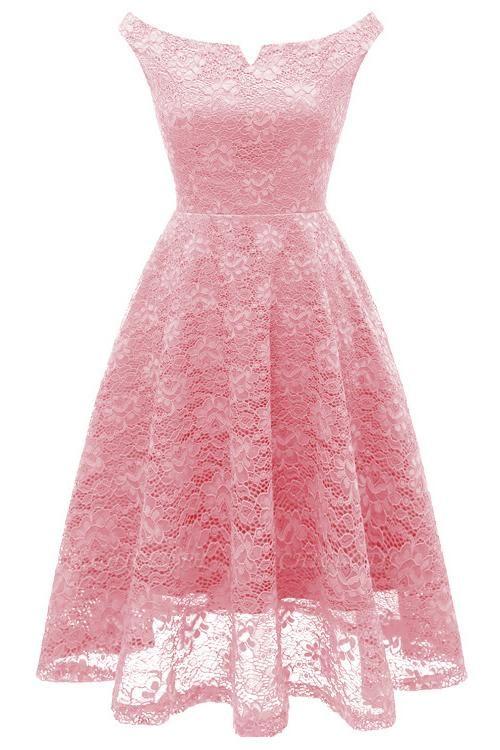 A| Chicloth Pink Sleeveless A-Line Lace Dress