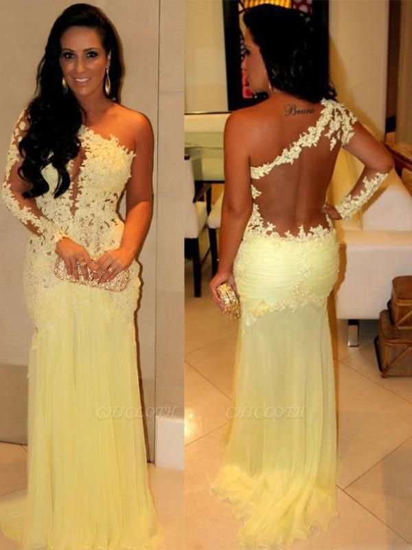 Chicloth Pretty Chiffon One-Shoulder Long Sleeves Sweep/Brush Train With Applique Dresses