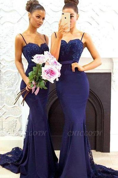 Chicloth Elegant Dark Navy Bridesmaid Dresses   Spaghettis Straps Lace Prom Dresses