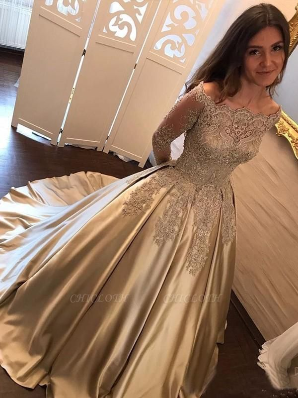 Chicloth Ball Gown Long Sleeves Off-the-Shoulder Sweep/Brush Train With Applique Satin Dresses
