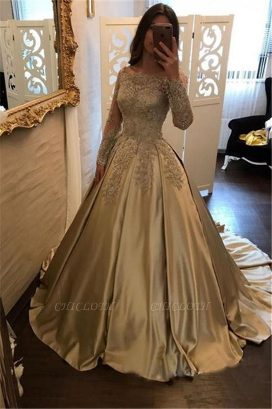 Chicloth A-Line Evening Dresses Bateau Neck Long Sleeves Lace Appliques Prom Dresses