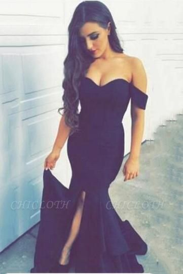 Chicloth New Arrival Off the Shoulder Mermaid Evening Dress Sexy Long Split 2019 Party Dresses