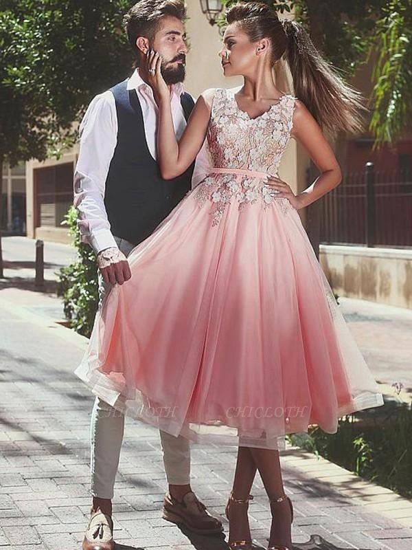 Chicloth A-Line V-neck Sleeveless Lace Tea-Length Tulle Dresses
