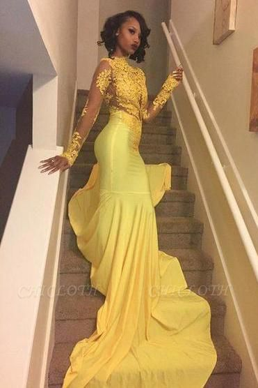 Chicloth Beautiful High-Neck Yellow Long-Sleeve Lace Appliques Mermaid Prom Dress