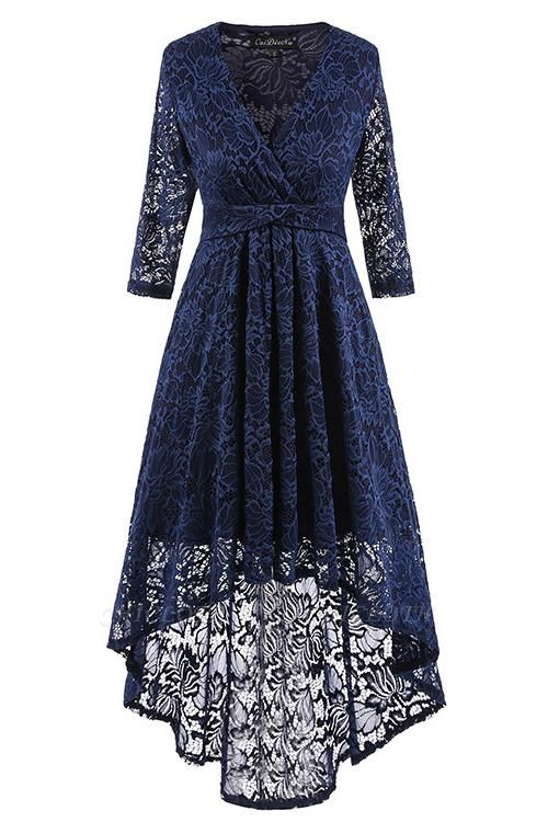 A| Chicloth Burgundy Half Sleeve Women Vintage Lace Dress