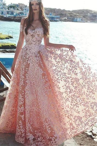 Elegant Off-the-Shoulder 2019 Evening Dress | Lace Appliques Prom Party Dress On Sale