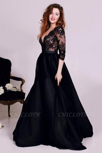 Chicloth Black Deep V-Neck Lace Formal Occasion Dress Gorgeous A-Line 3/4 Long Sleeve Evening Gown JT127