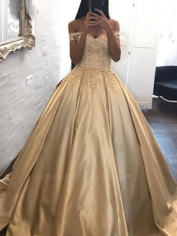 Chicloth Ball Gown Off-the-Shoulder Sleeveless Sweep/Brush Train With Applique Satin Dresses