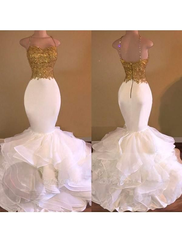 Chicloth Mermaid Organza Spaghetti Straps Sleeveless Floor-Length With Applique Dresses