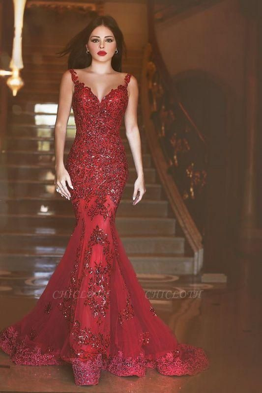 Chicloth Red Sexy Crystal Mermaid Evening Dress Vintage Spaghetti Strap Tulle Long Formal Occasion Dress