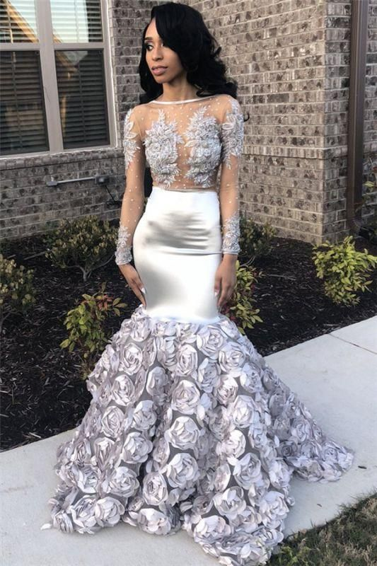 Chicloth Silver Flowers Sexy See Through Prom Dresses 2019 | Long Sleeve Beads Lace Mermaid Graduation Dress FB0371