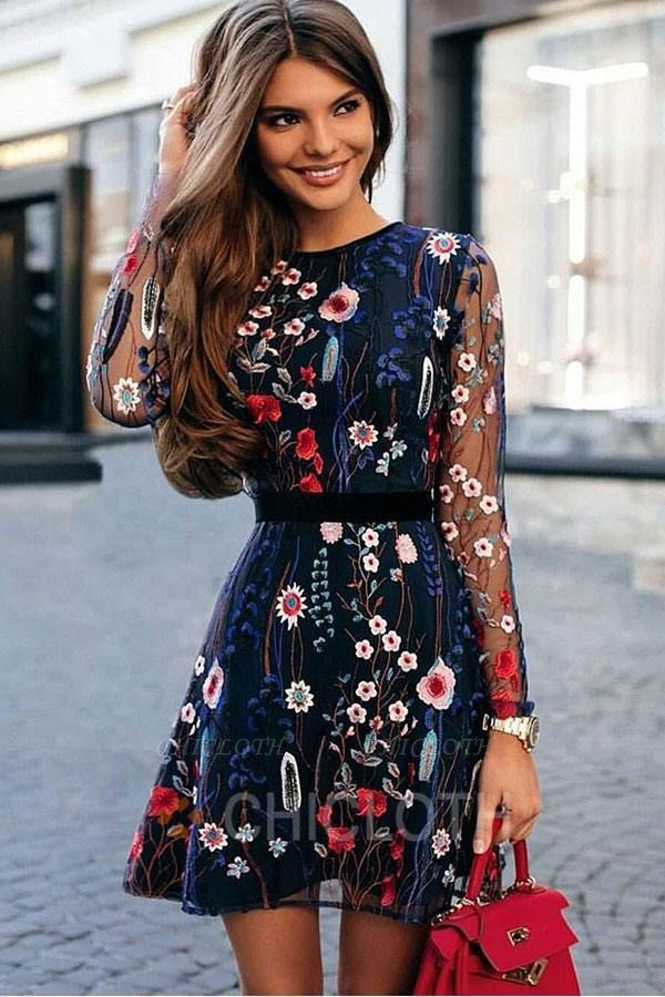 A  Chicloth Embroidered Lace-Paneled Long-Sleeve Mini Dress
